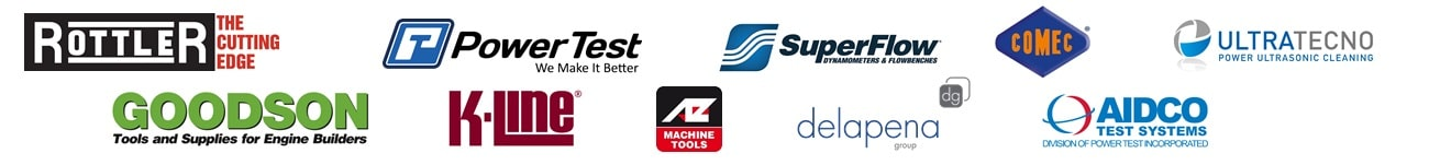 Rottler engine rebuilding equipment, Power Test engine dynamometers, AZ spa grinding machines, Comec, Ultratecno automotive cleaning machines, GOODSON engine rebuilding tools, K-Line tools, Super Flow chassis dynamometers, delapena honing innovation, AIDCO Transmission & Hydraulic Dynamometer